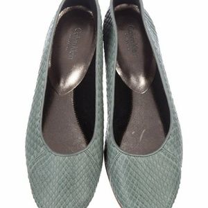 Calvin Kein Snake Embossed Leather Ballet  Flats